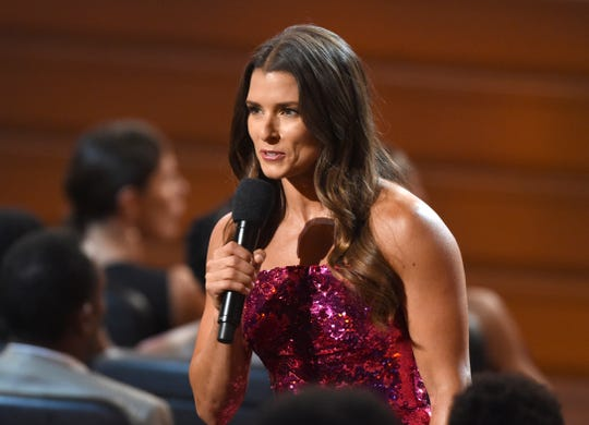 Host Danica Patrick speaks at the ESPY Awards at the Microsoft Theater on Wednesday, July 18, 2018, in Los Angeles.