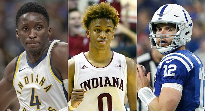 Victor Oladipo of the Pacers (from left); Romeo Langford of IU; Andrew Luck of the Colts.