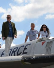 The Pleczkos, Rick (left) and Shamaine, contemplate the B-58 Hustler with Tom Kelley.