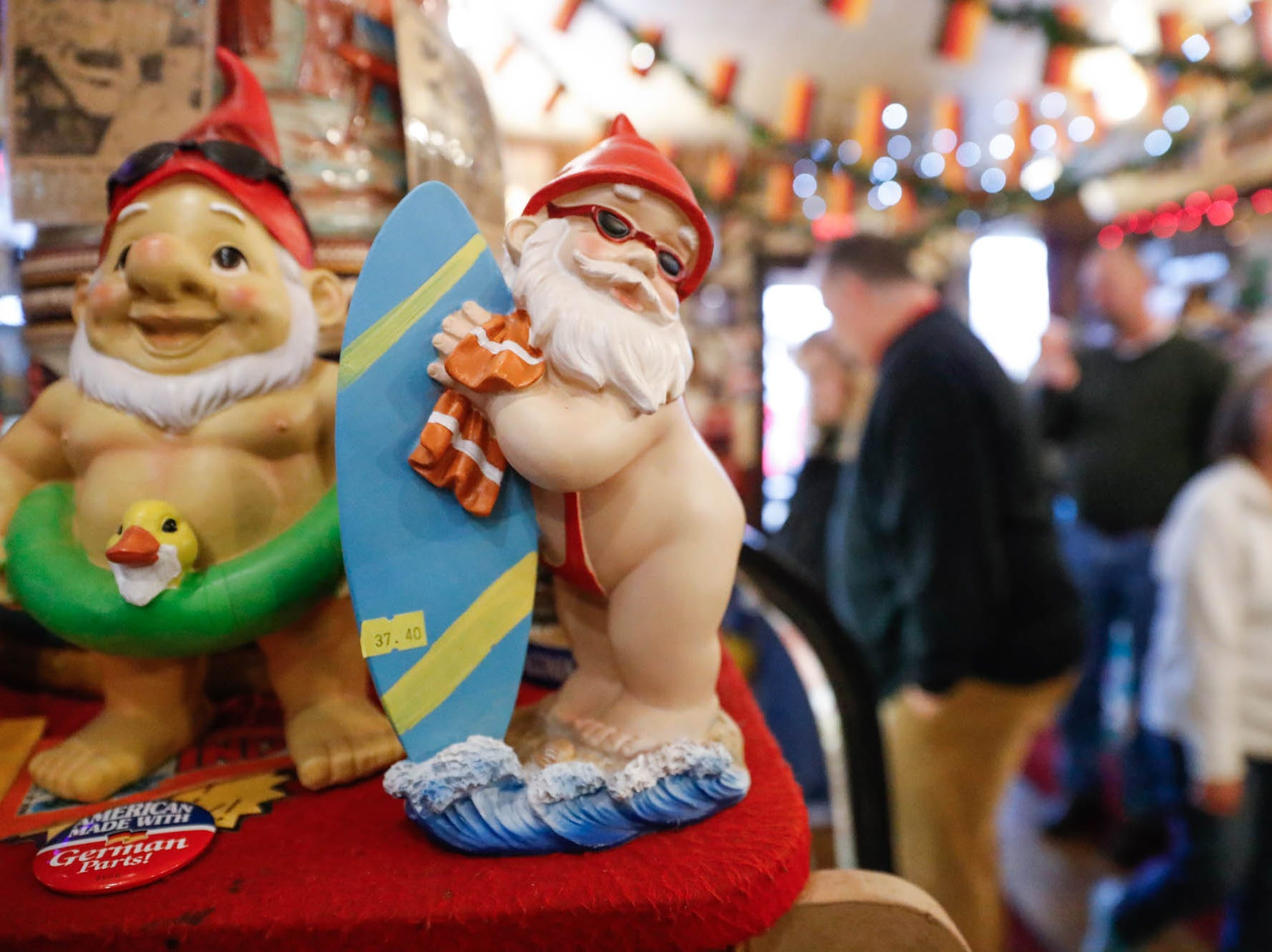 Gnomes dressed for the beach are for sale at the Heidelberg Haus Cafe and Bakery, 7625 Pendleton Pike, Indianapolis Ind., on Saturday, Dec. 8th, 2018. The cafe, bakery, and German grocery are well known for its extensive collection of German Kitsch.