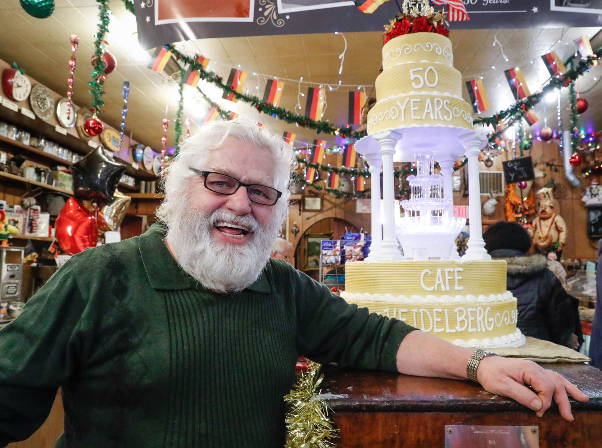 "Heidelberg Haus Cafe and Bakery owner Juergen ""JJ"" Jungbauer celebrate the Cafe's 50th year in business with a  party on Saturday, Dec. 8th, 2018. The cafe, bakery, and German grocery is well known for its extensive collection of German Kitsch."
