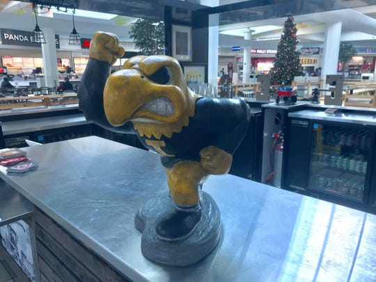 A Herky statue at the Iowa Beer Crafts and Drafts kiosk inside the Coral Ridge Mall is shown on Dec. 11, 2018.