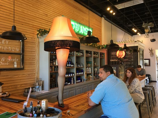 """Noble Barber at The Township in Ridgeland, has a leg lamp made famous by the 1983 film, """"A Christmas Story"""", on the bar near the register."""
