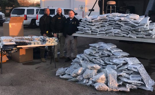 Rankin County Sheriff's Dept. seized over 300 pounds of marijuana and other illegal items during a traffic stop on Interstate 20 on Monday.