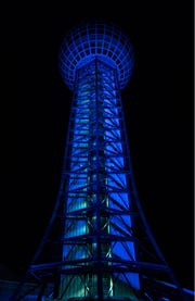 "The Sunsphere and other downtown structures were lit blue Friday through Monday as part of the ""Shine Your Light"" campaign organized by the East Tennessee Children's Hospital."