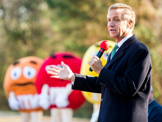 Gov. Bill Haslam speaks during the groundbreaking ceremony at the Mars Wrigley Confectionery in Cleveland, Tenn., on Tuesday, December 11, 2018.