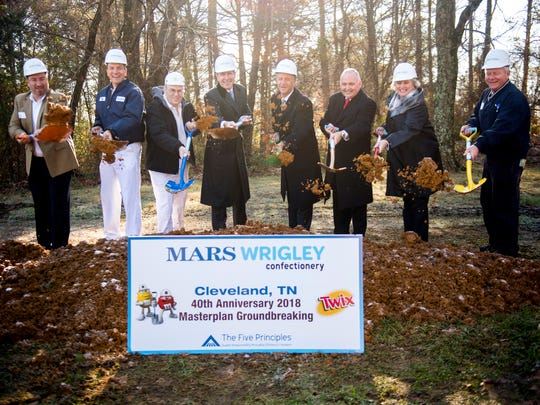 Ground is broken during a groundbreaking ceremony at the Mars Wrigley Confectionery in Cleveland, Tenn., on Tuesday, December 11, 2018.
