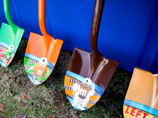 Shovels wait to be used for the groundbreaking ceremony at the Mars Wrigley Confectionery in Cleveland, Tenn., on Tuesday, December 11, 2018.