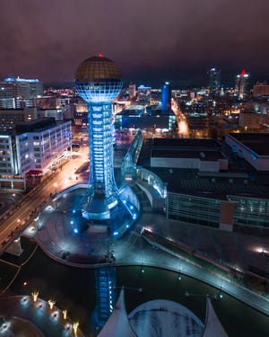 "The Sunsphere and other structures in downtown Knoxville turn blue on Dec. 9, 2018. The special lighting was part of the East Tennessee Children's Hospital ""Shine Your Light"" program, which aims to remind people of children in the hospital this holiday season."