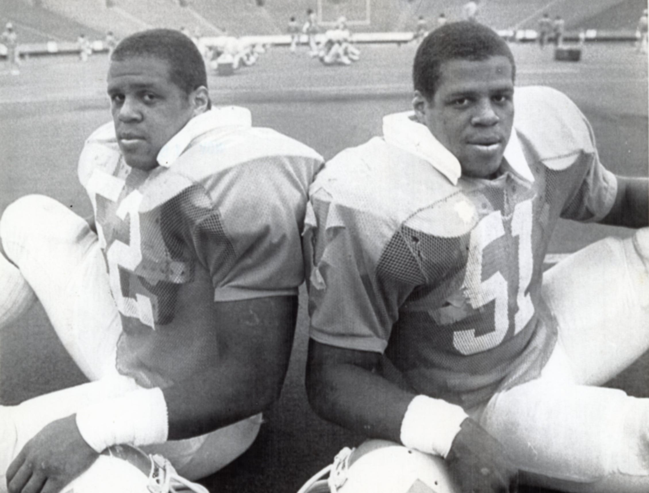 UT football players Raleigh, left, and Reggie McKenzie at the 51st annual Sun Bowl in El Paso, TX, December, 1984.