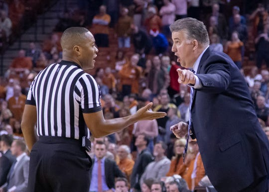 Dec 9, 2018; Austin, TX, USA; Purdue Boilermakers head coach Matt Painter disputes the call on the last play against the Texas Longhorns during the second half at Frank Erwin Center. Mandatory Credit: John Gutierrez-USA TODAY Sports