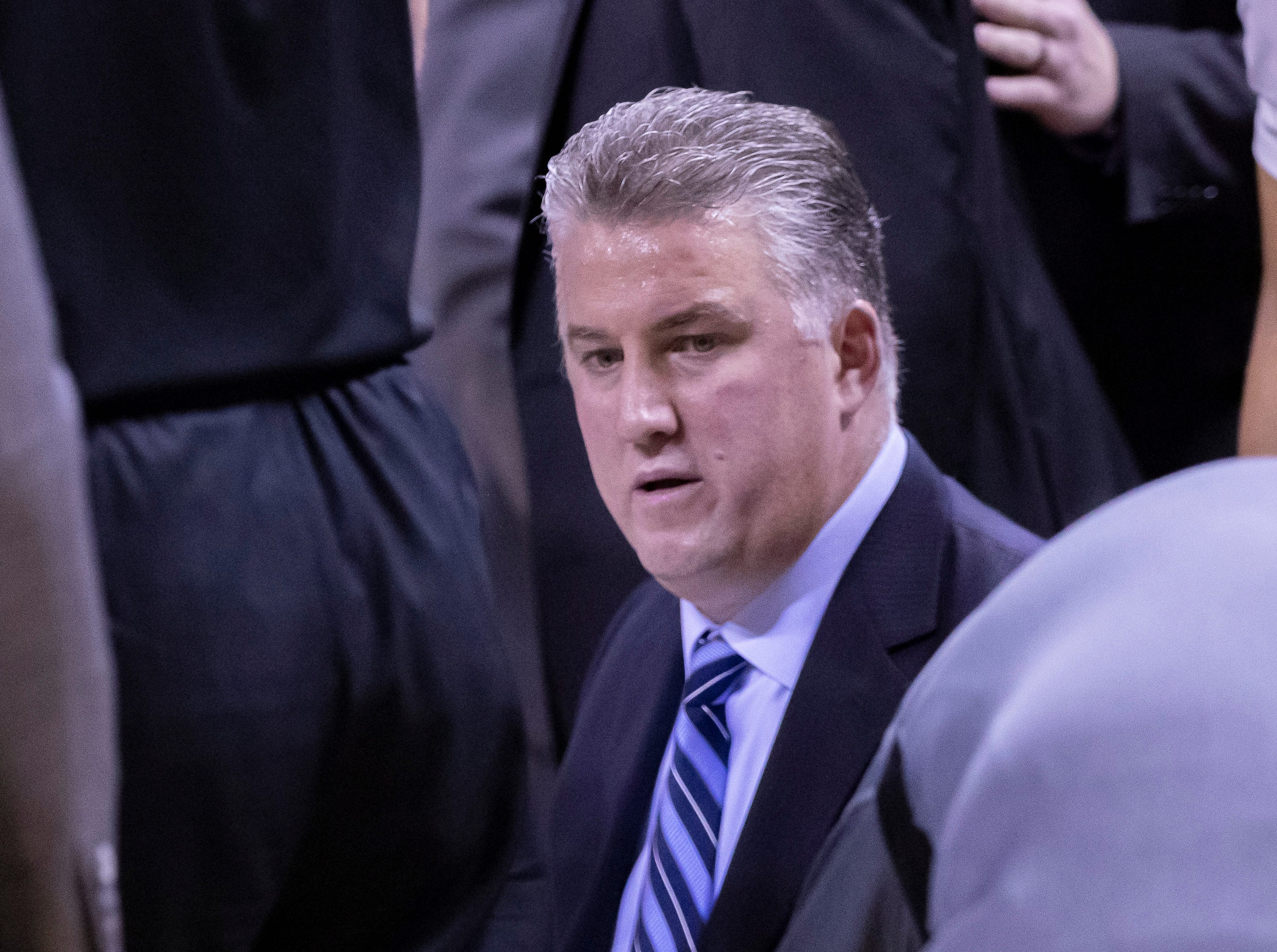 during the second half Dec 9, 2018; Austin, TX, USA; Purdue Boilermakers head coach Matt Painter talks to his team during a timeout against the Texas Longhorns at Frank Erwin Center. Mandatory Credit: John Gutierrez-USA TODAY Sports
