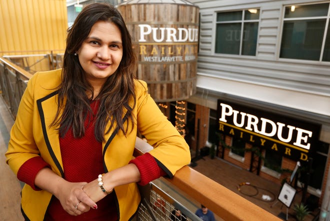 Hina Khalid with Tipmont REMC Tuesday, December 11, 2018, inside the Purdue Railyard in West Lafayette.