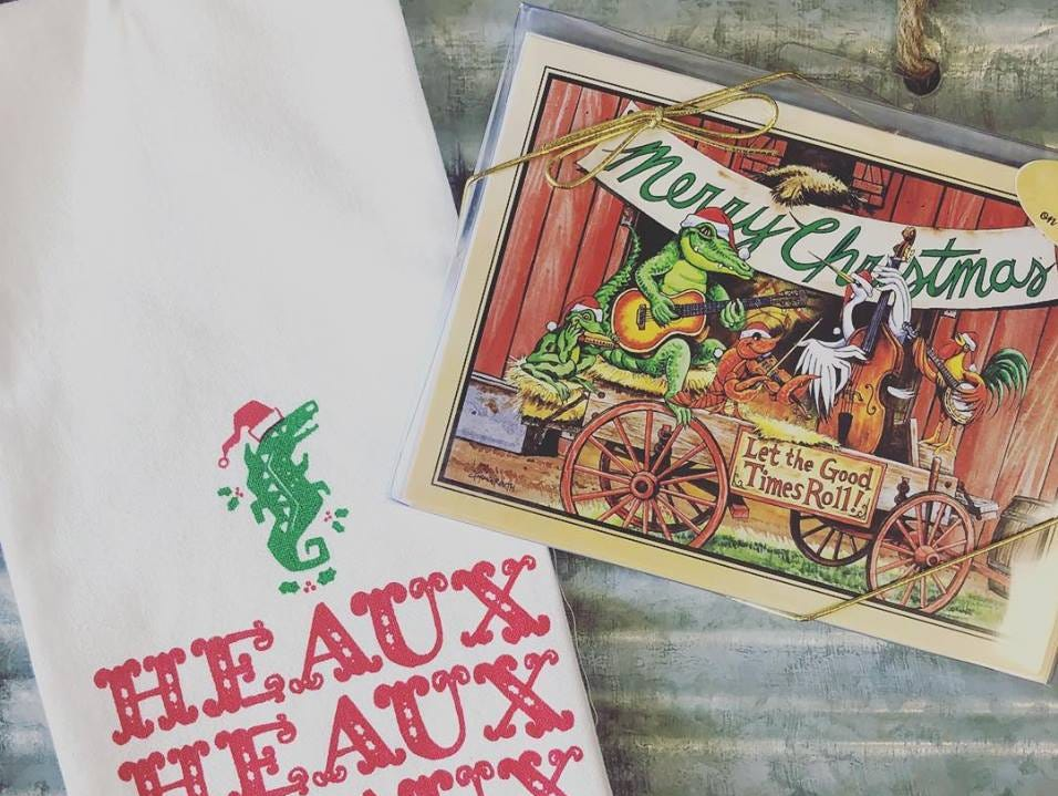 Unique Christmas towel and Louisiana-themed Christmas card you can find at Louisiana Hot Stuff
