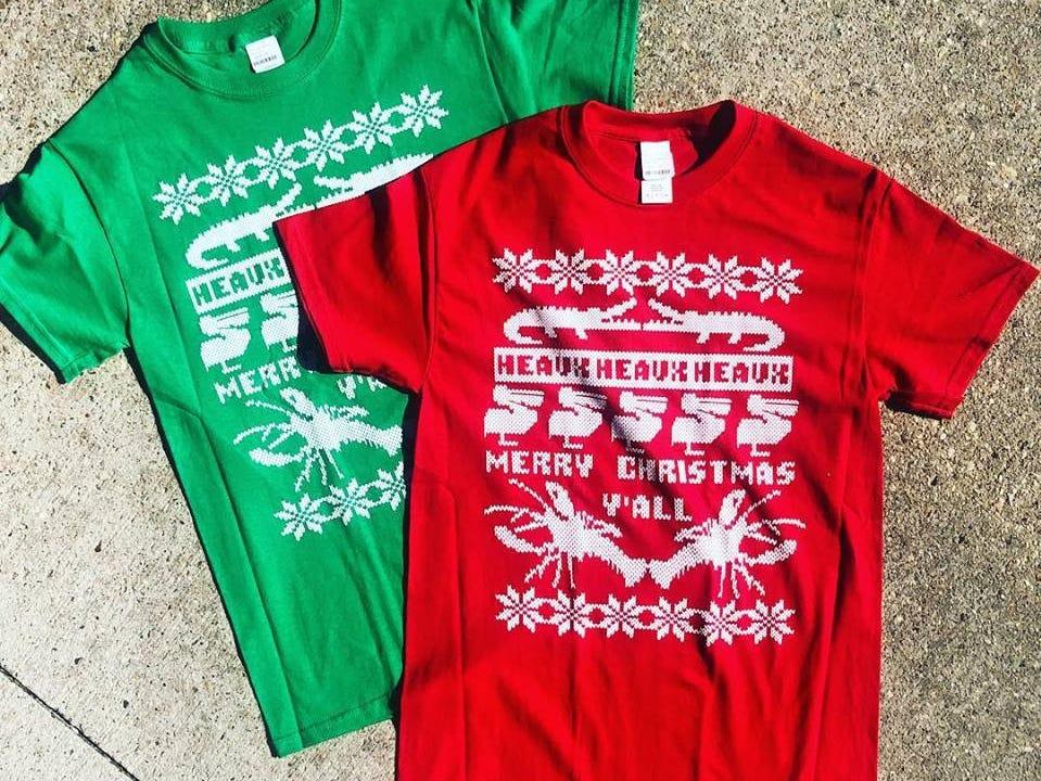 Louisiana-themed Christmas shirt sold at Louisiana Hot Stuff