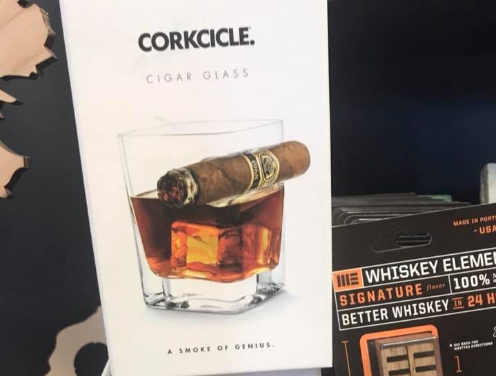 One of a kind corkcicle whiskey glasses sold at Towne Pharmacy