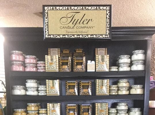 Huge Tyler Candle Company selection sold at Flowers and More by Dean