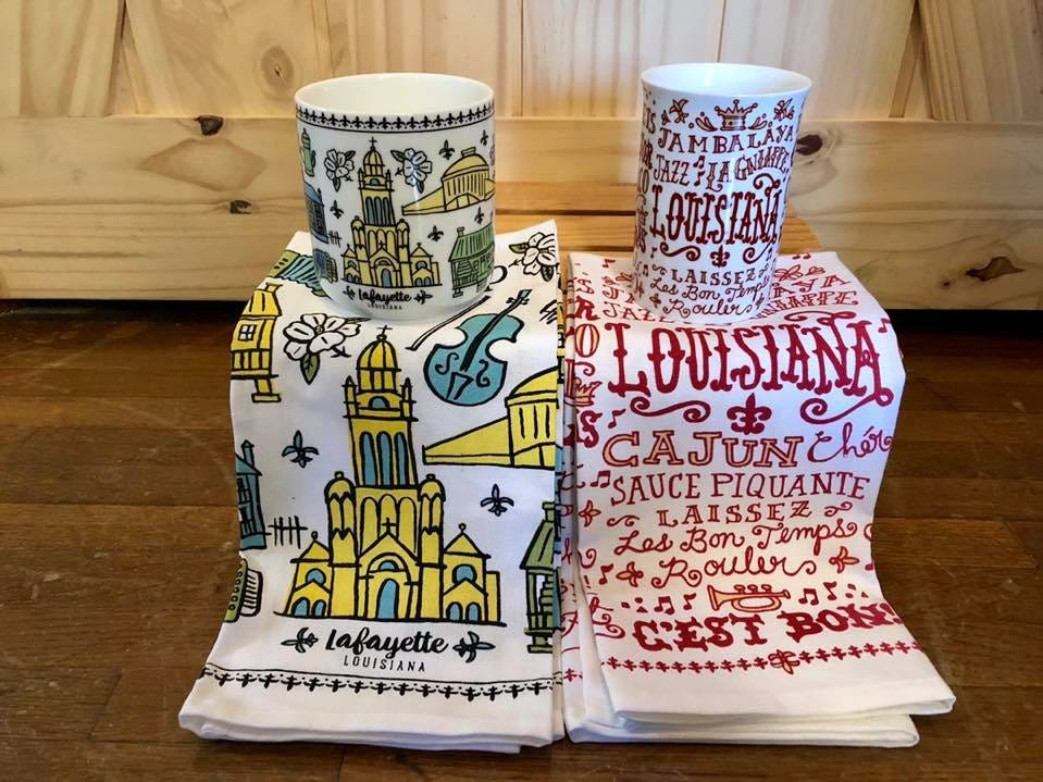 Fun and funky Kitchen towel and coffee cup set sold at The Gift Pod
