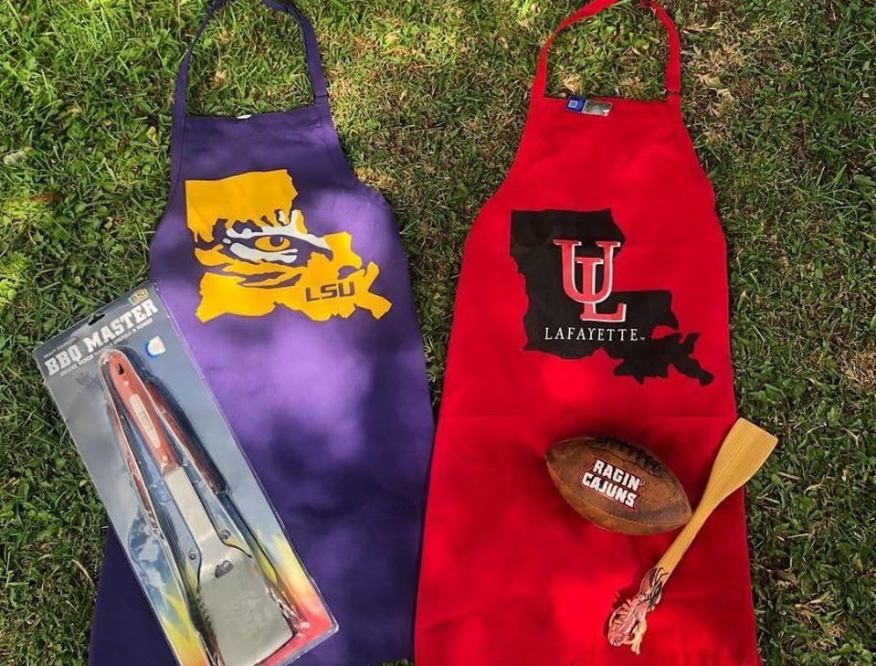 Great UL and LSU aprons sold at Louisiana Hot Stuff