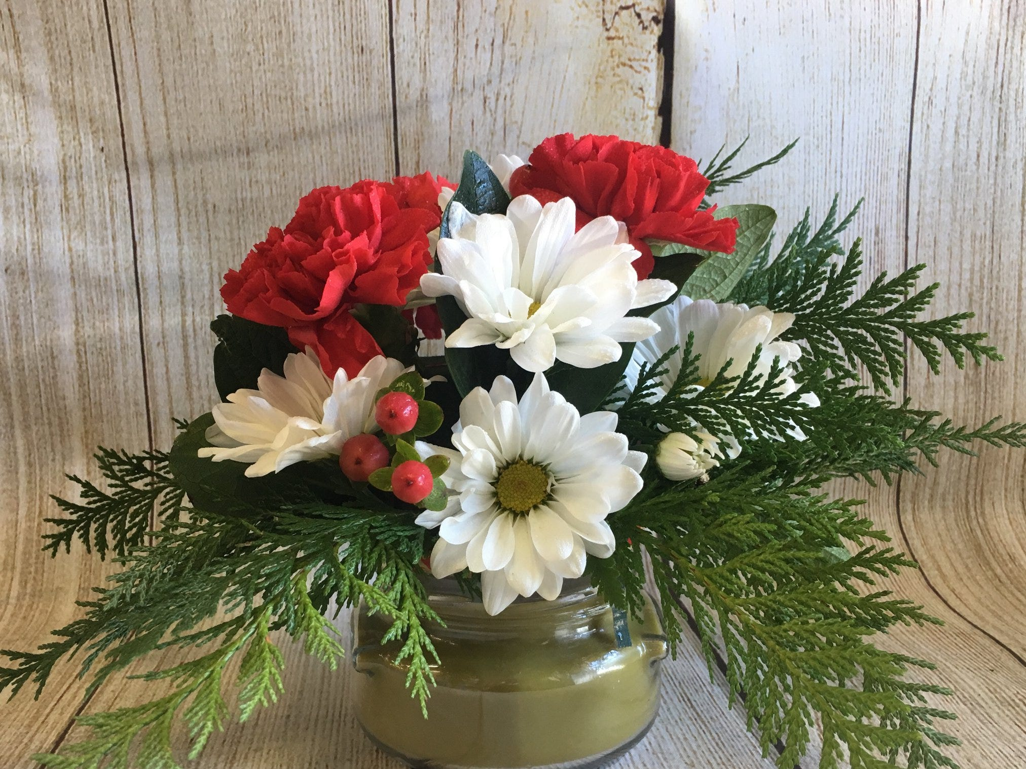 Give this bouquet and candle set sold at Flowers and More by Dean