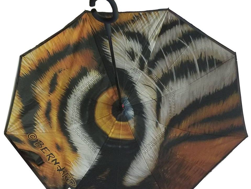 This inverted Tiger Eye umbrella is the perfect gift for any LSU fan. Sold at The Gift Pod