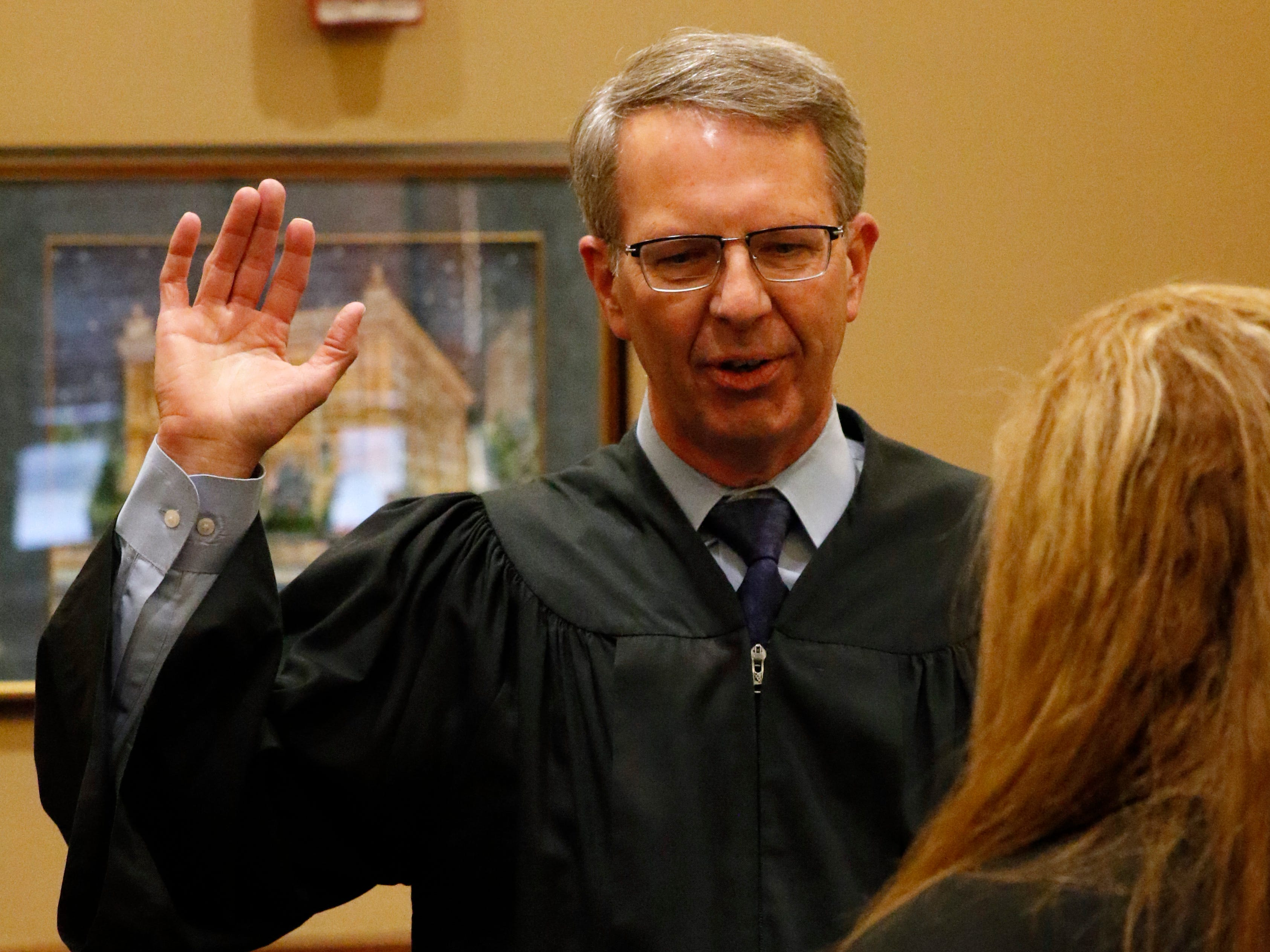 Fairfield County Common Pleas Court General Division Judge Richard Berens is sworn in Tuesday, Dec. 11, 2018, in Lancaster.