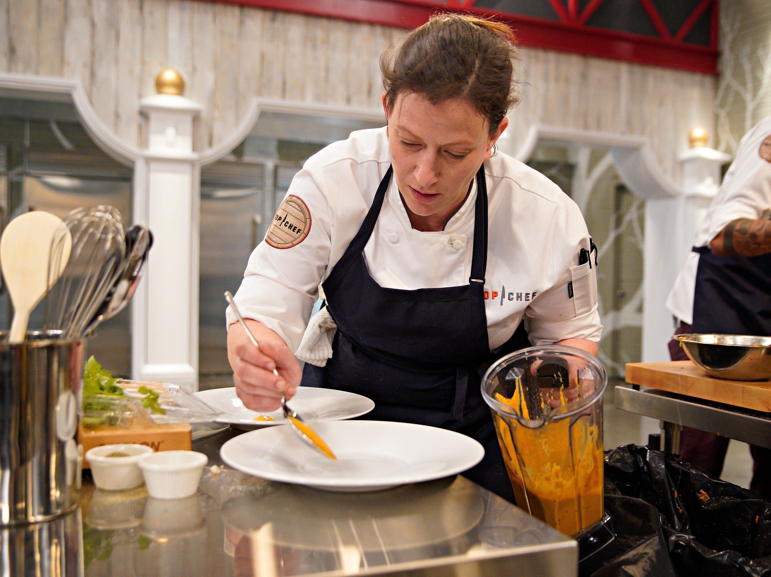 "Chef Sara Bradley competes on episode 2  of ""Top Chef"" season 16."