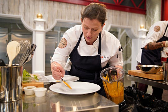 "Chef Sara Bradley competes on episode 2  of ""Top Chef"" season 16."