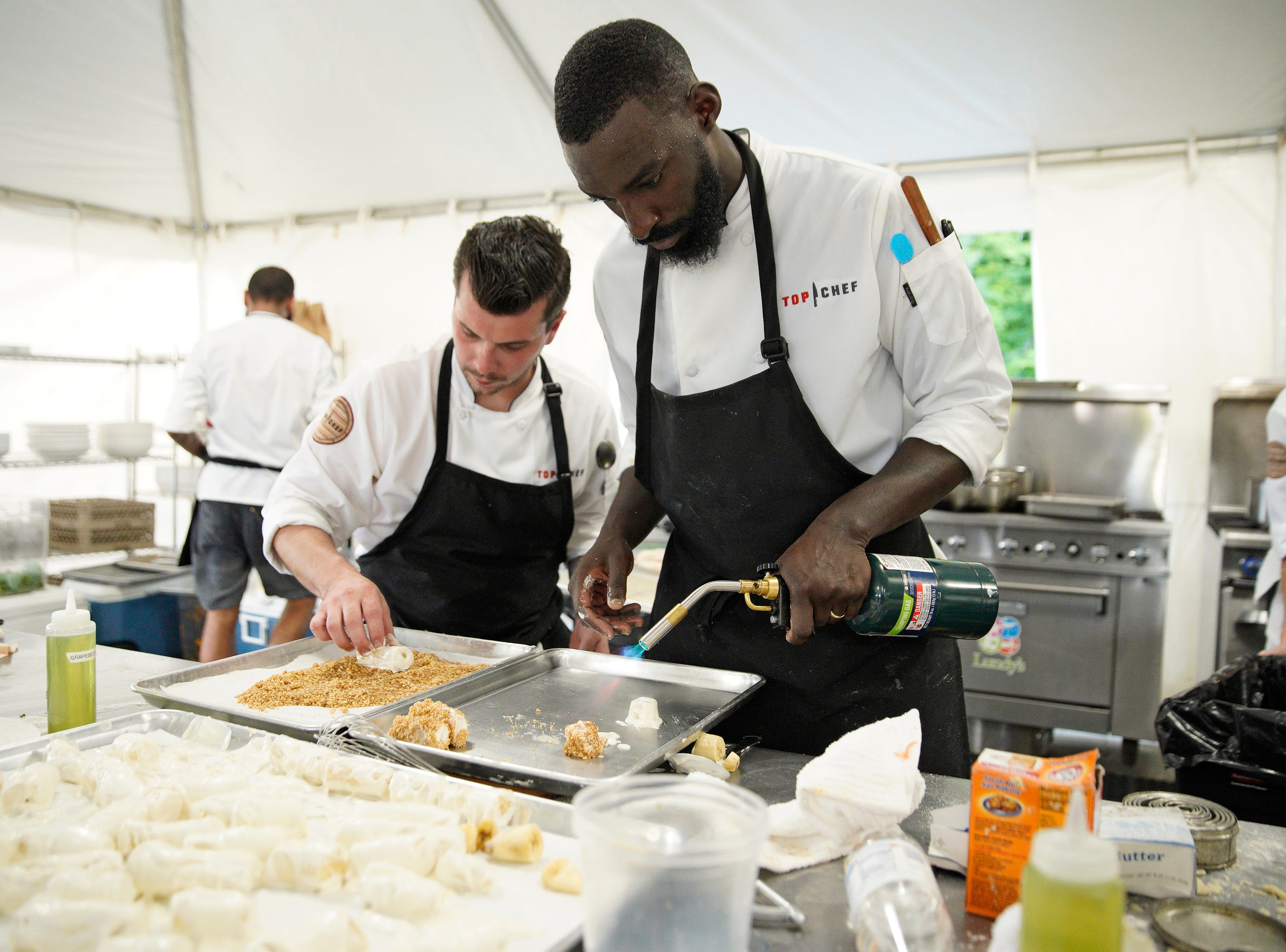 """Chefs Eddie Konrad and Eric Adjepong compete on episode 2 of """"Top Chef"""" season 16."""