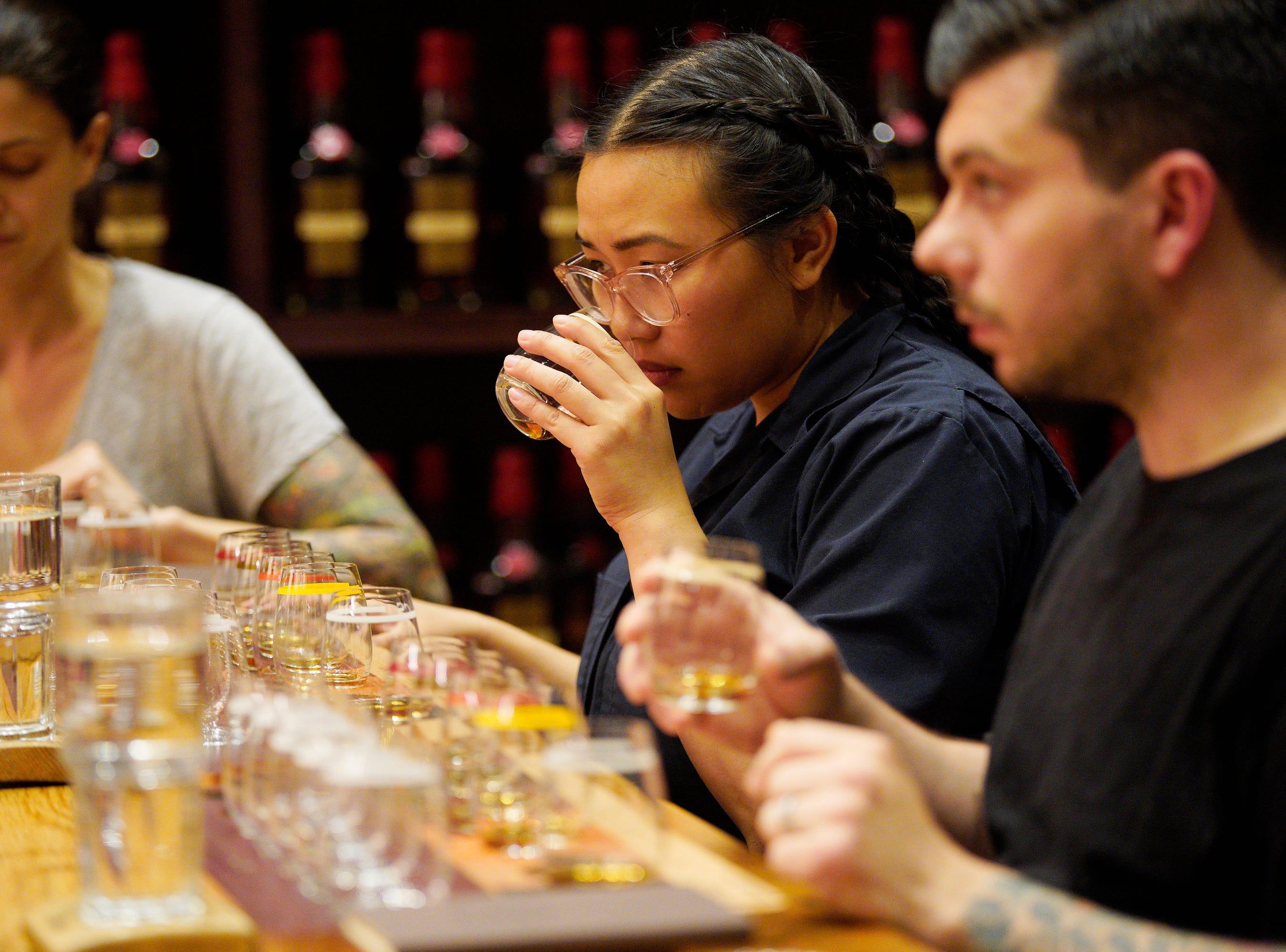 "Chef Nini Nguyen tastes bourbon at the Maker's Mark distillery on episode 2  of ""Top Chef"" season 16."