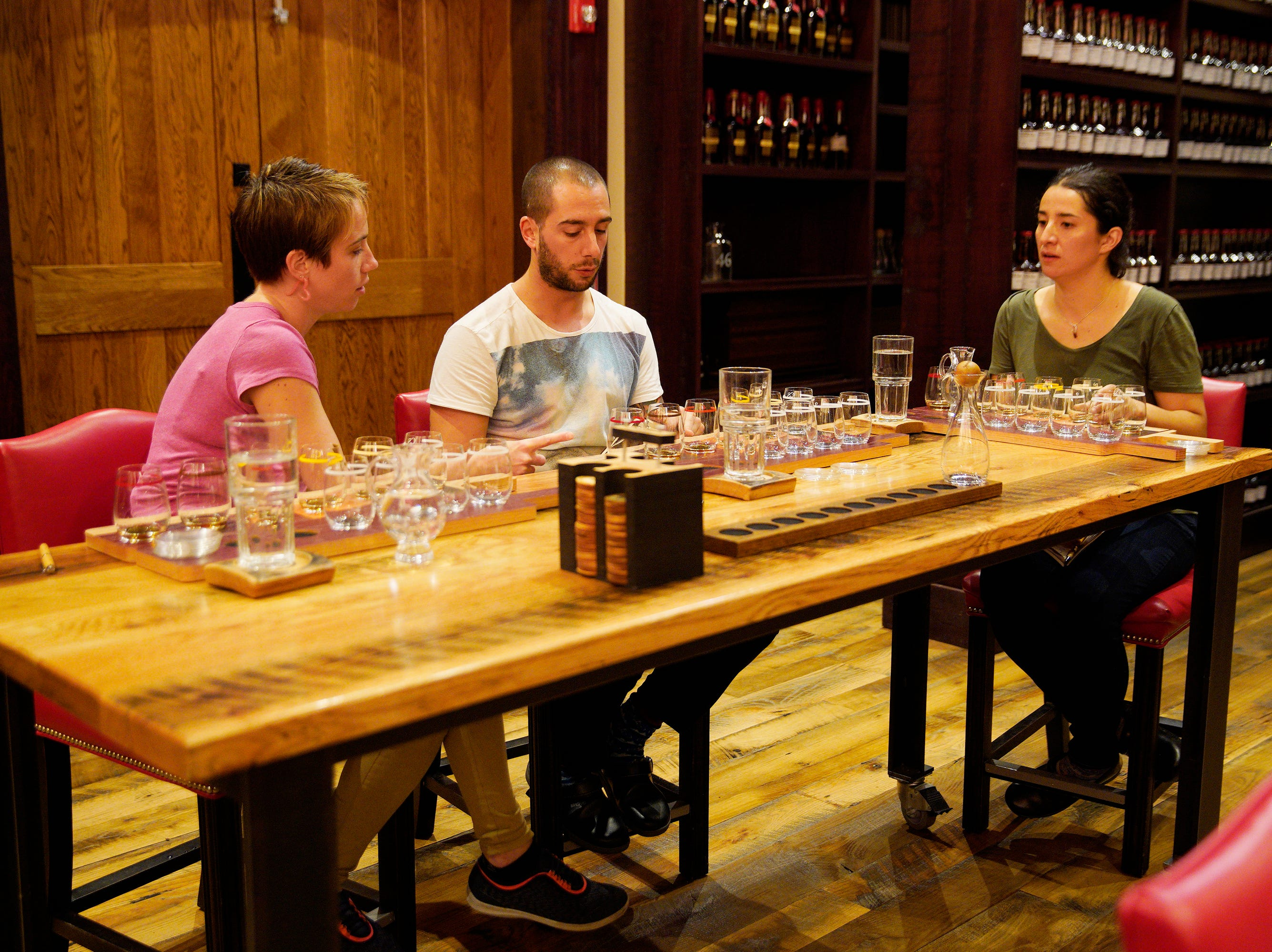 "(Left to right) Chefs Adrienne Wright, Pablo Lamon and Michelle Minori taste bourbon at the Maker's Mark distillery on episode 2 of ""Top Chef"" season 16."