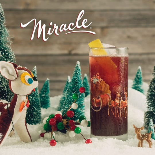 The Run Run Rudolph (Gin, Mulled Wine Puree, Lemon, Cane Syrup, Prosecco) at the Miracle Holiday Pop-Up Bar.