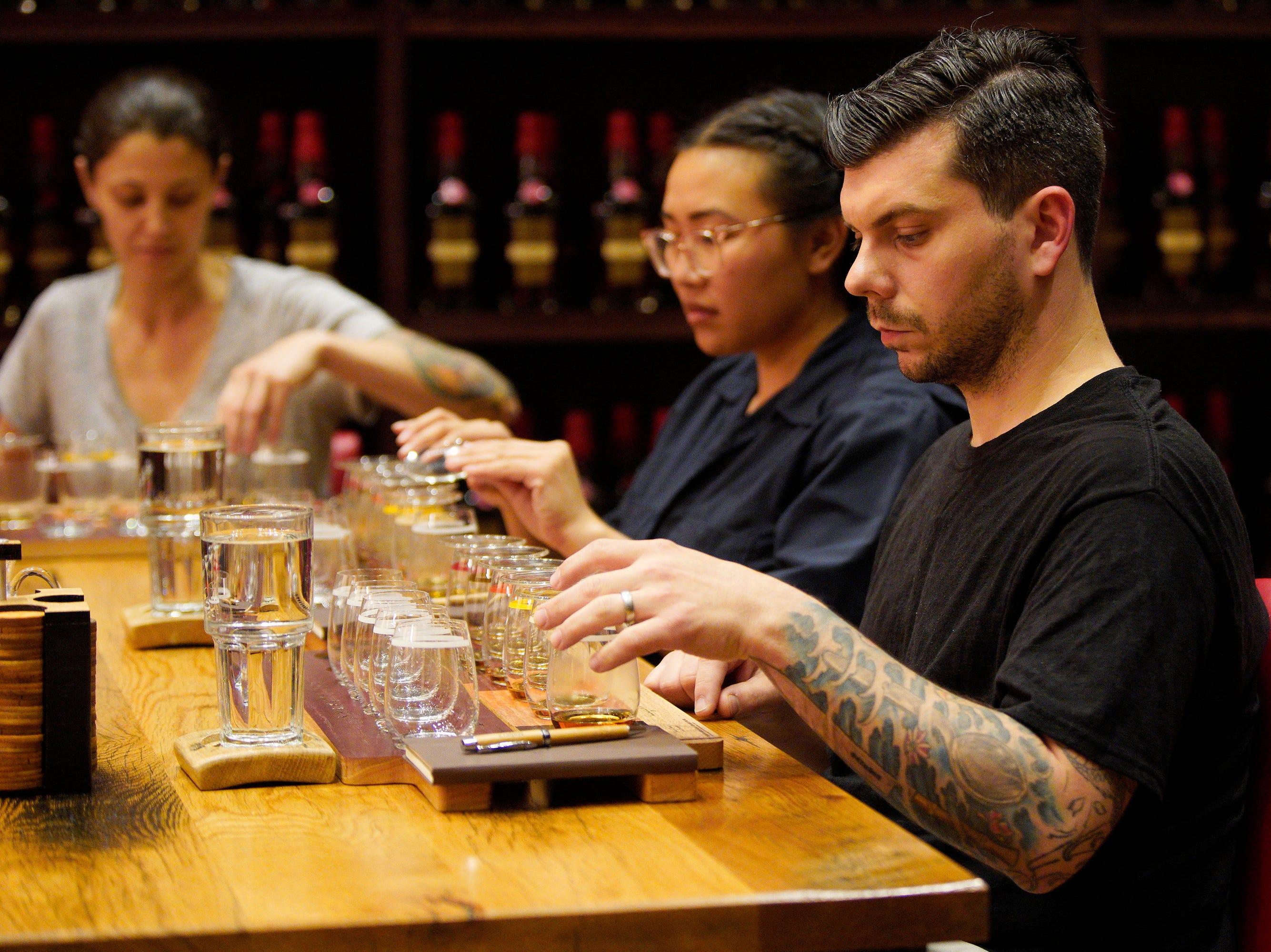 "Chef Eddie Konrad tastes bourbon at the Maker's Mark distillery on episode 2  of ""Top Chef"" season 16."