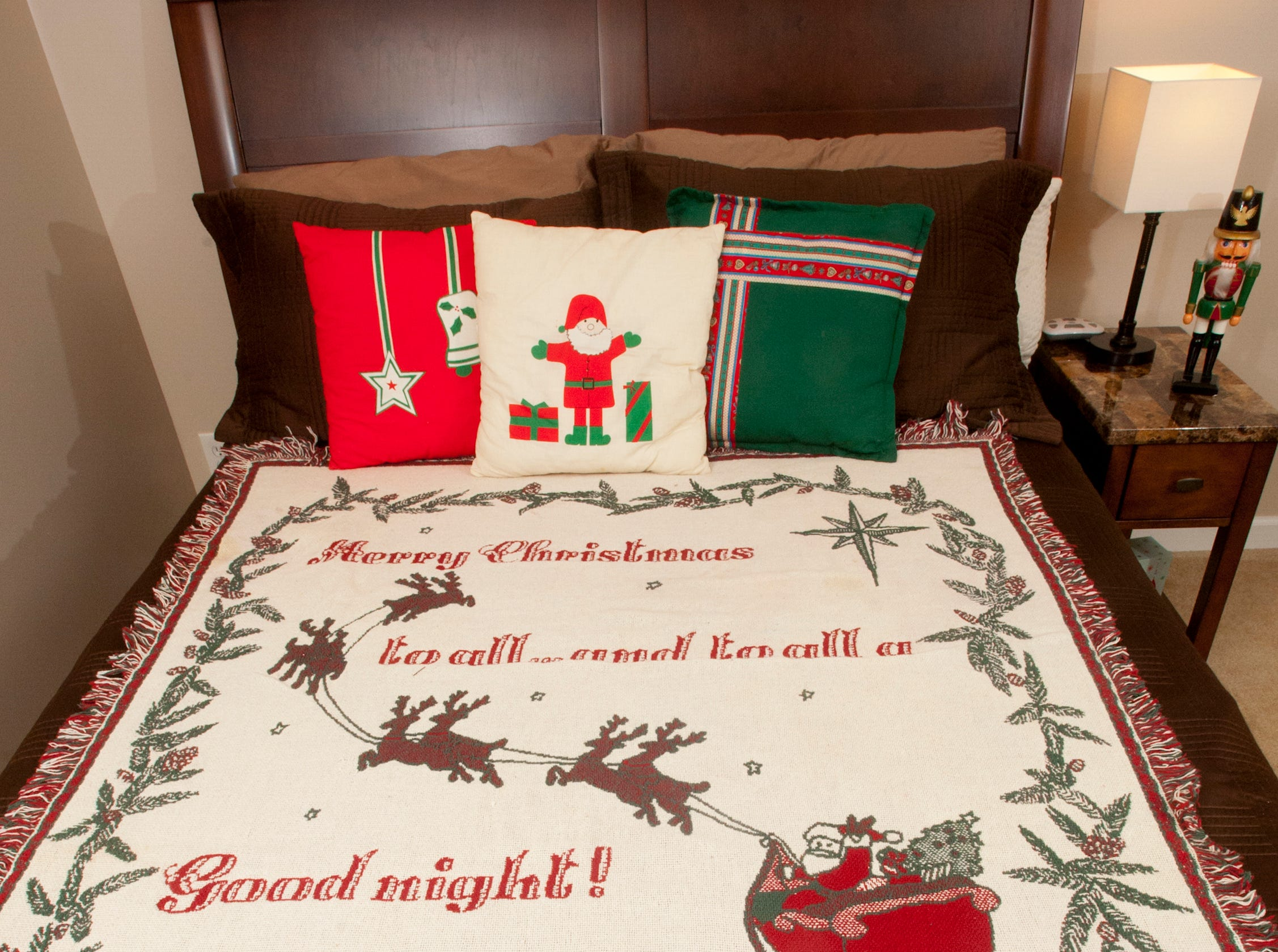 A Christmas themed guest bed in the basement off the bourbon bar.