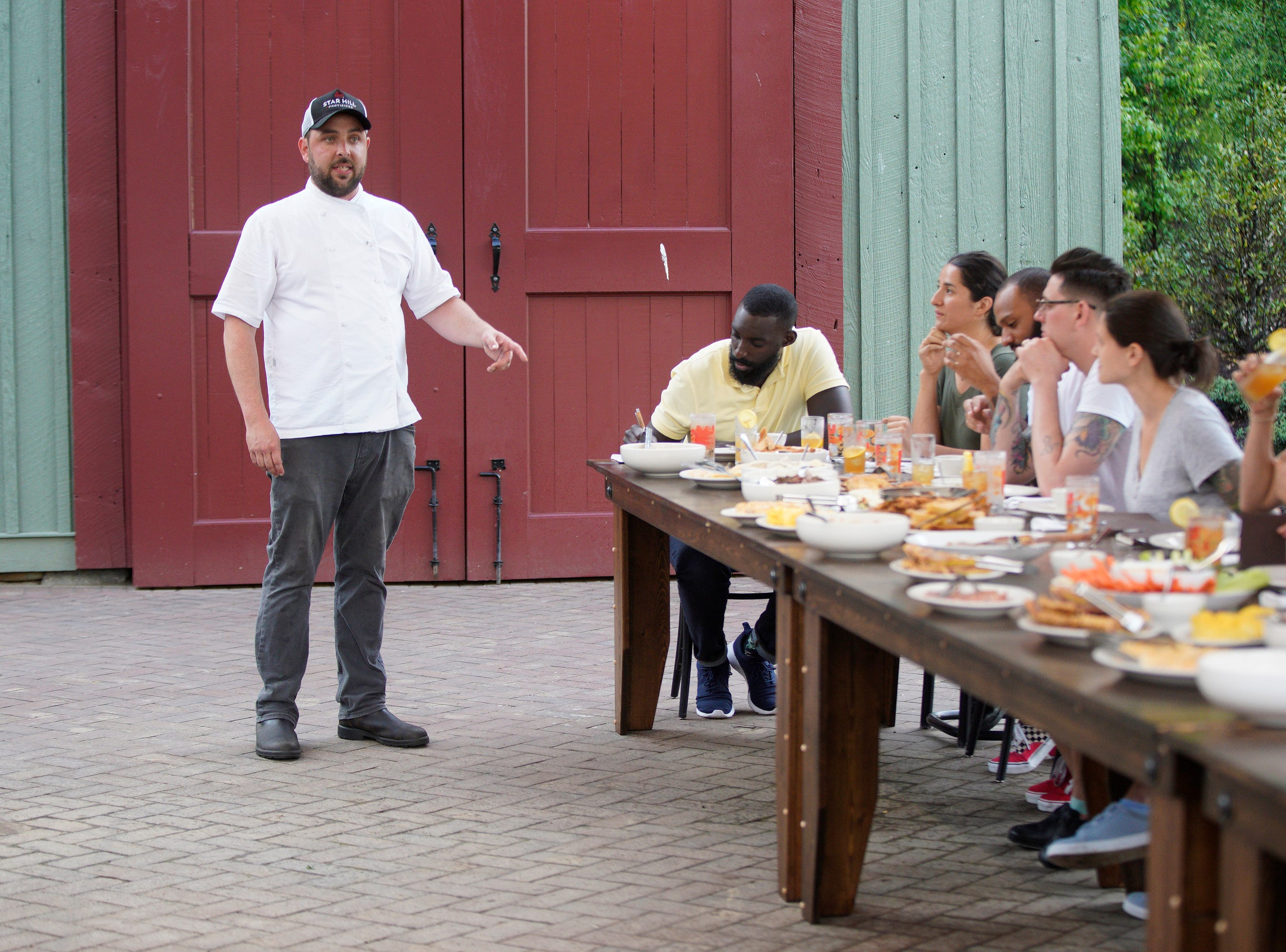 """Star Hill Provisions chef Newman Miller treats the cheftestants to a traditional Kentucky dinner on episode 2  of """"Top Chef"""" season 16."""