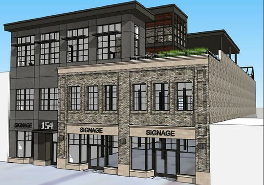 A rendering submitted to the City of Mason for the construction of a 24,287 sq. ft., three-story, mixed-use building to include mercantile, business and single-family residential proposed for the 100 block of West Maple Street.