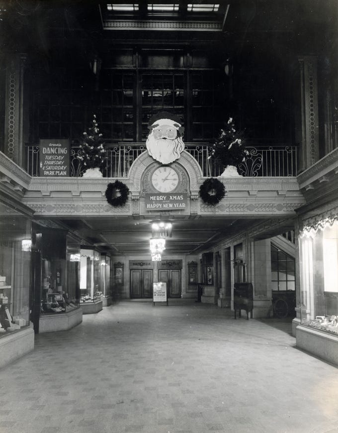 Regent Theater clock with Christmas decorations, date unknown.