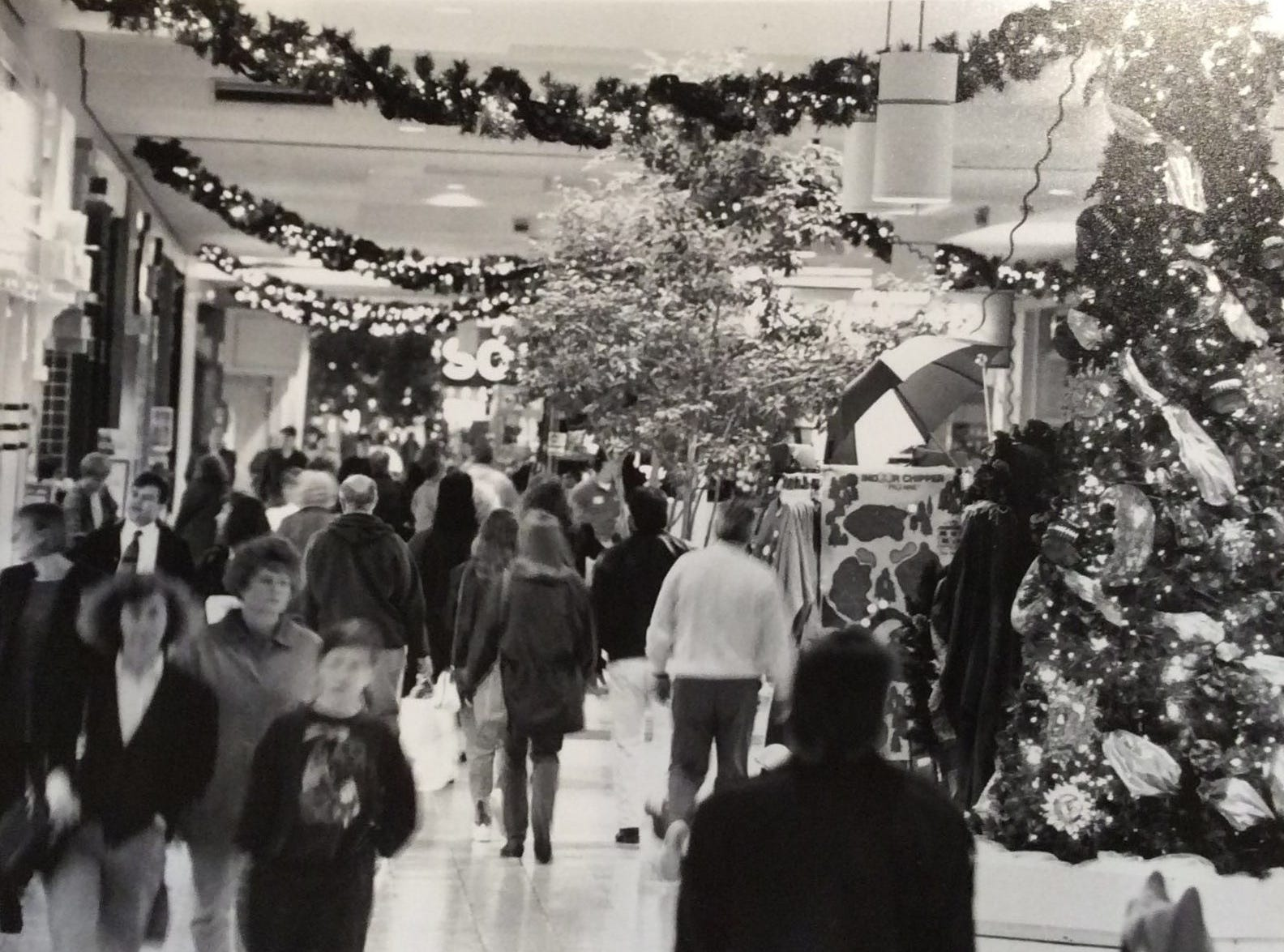 Holiday shoppers rush through the Meridian Mall in Okemos, 1993.