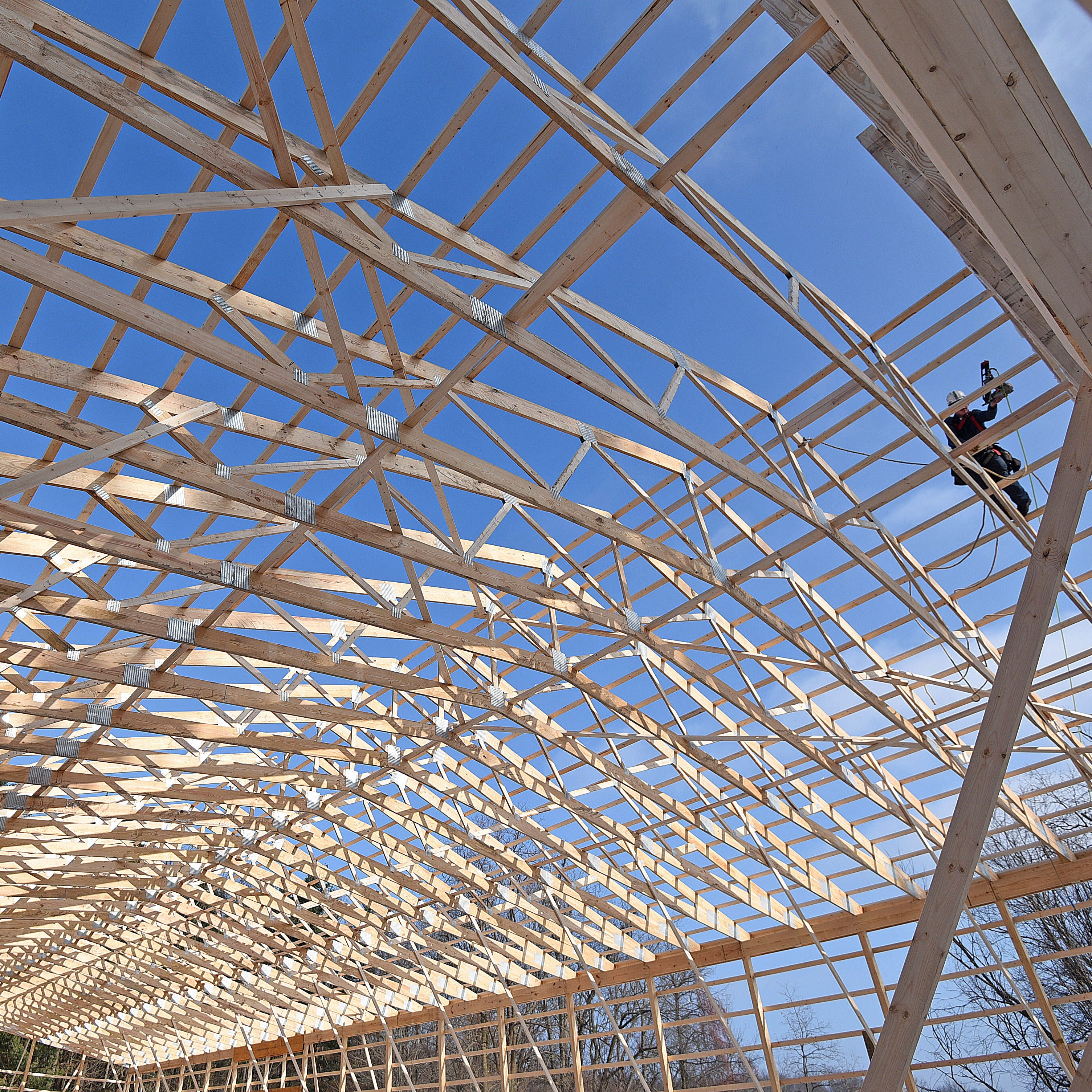 Rafters go up on Hidden Hollow horse barn