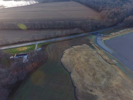 An aerial view of Ann Richardson's property adjacent to Woods 004, a planned Cabot Oil and Gas well located along Ohio Route 95.