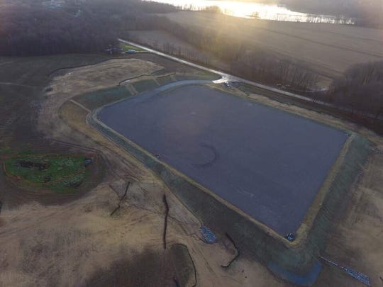 An aerial view of a planned well pad owned by Cabot Oil and Gas on Ohio  95 in Monroe Township, Richland County.