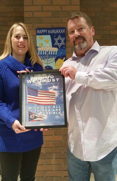School Board Member Heidi Zimmerman With Rabbi William Hallbrook