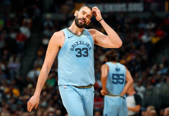 Memphis Grizzlies center Marc Gasol heads to the bench after being called for a foul while facing the Denver Nuggets in the second half of an NBA basketball game Monday, Dec. 10, 2018, in Denver. The Nuggets won 105-99. (AP Photo/David Zalubowski)