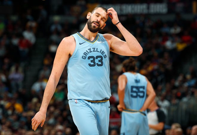 Grizzlies center Marc Gasol heads to the bench after being called for a foul against the Nuggets on Dec. 10.