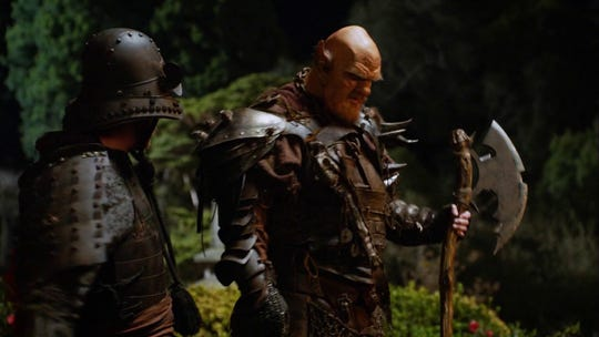 "Patrick Cox donned elaborate makeup, armor and a battle ax to play an outer-space ogre in an episode of Seth MacFarlane's ""The Ogre."""