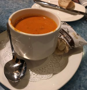 The roasted red pepper soup at CJ's On The Bay, Marco Island.