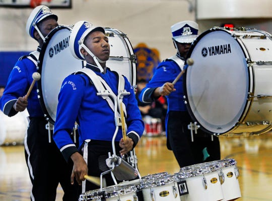 Maleak Taylor, a freshmen at North Divison High School, plays quints for the drumline during the MPS Hosts City Drumlime Competition at Rufus King High School.