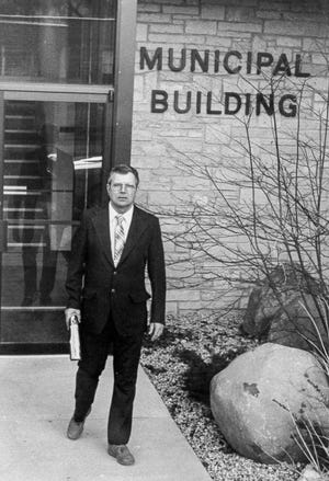 Dick Landwehr has announced he will not seek re-election in the 2019 spring election. This photo is of Landwehr in front of the municipal building while he served as village president in 1985.