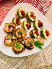 Fried plantains, tostones, can be festively topped with shrimp, avocado and other ingredients depending on guests' dietary needs or preferences.