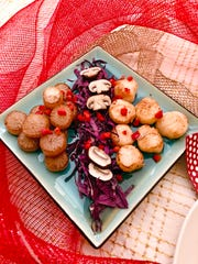 Seafood scallops and 'scallops' made from daikon radishes let guests with different diets enjoy similar dishes.